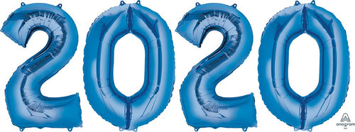 2020 Blue Number Balloon Bunch 34""