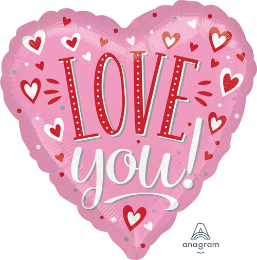 Giant Love You Hearts Balloon, 28""