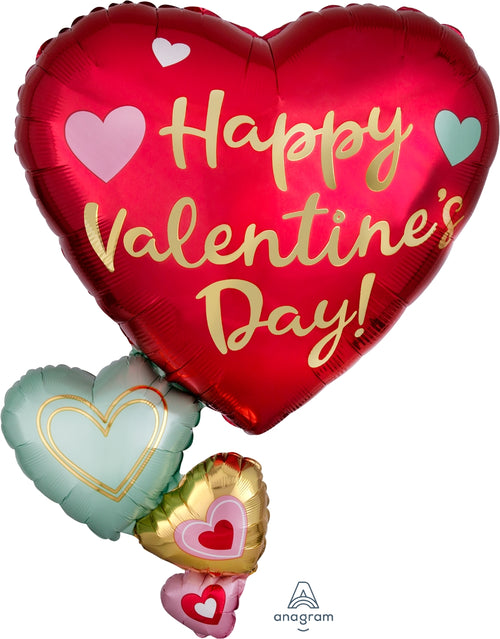 Happy Valentine's Day Floating Hearts Balloon, 30""