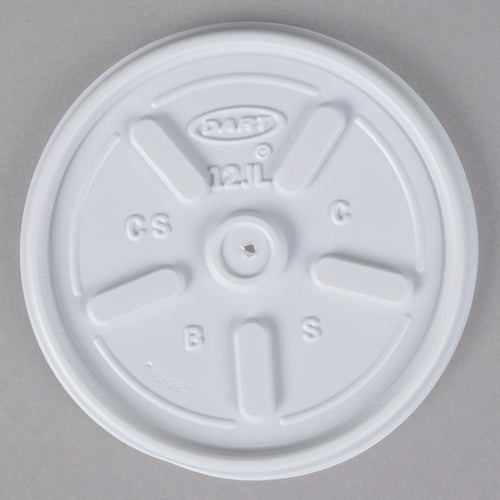 Dart 12JL White Vented Lid - 100/Pack
