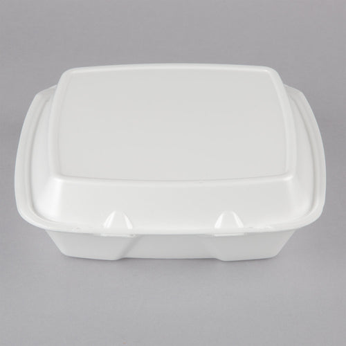 "Dart 90HTPF3R 9"" x 9"" x 3"" White Foam Three-Compartment Square Take Out Container with Perforated Hinged Lid - 100/Pack"