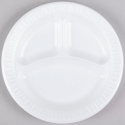 "Dart 9CPWC 9"" 3 Compartment White Round Foam Plate - 125/pack"