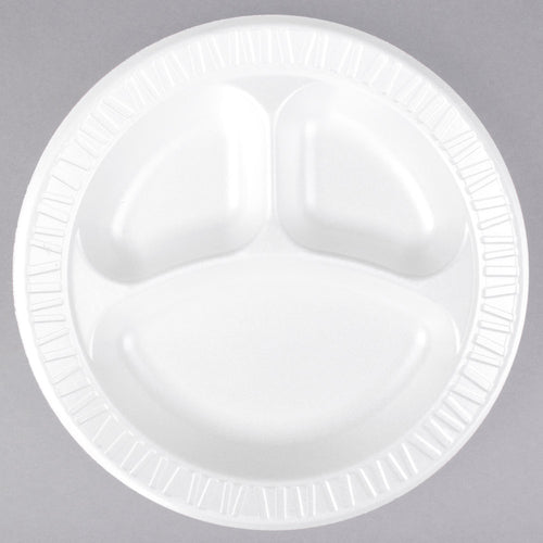 "Dart 10CPWCR 10 1/4"" 3 Compartment White Round Foam Plate - 125/Pack"
