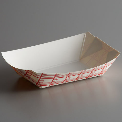 Red Checkered #200 2 lb. Paper Food Tray - 250ct