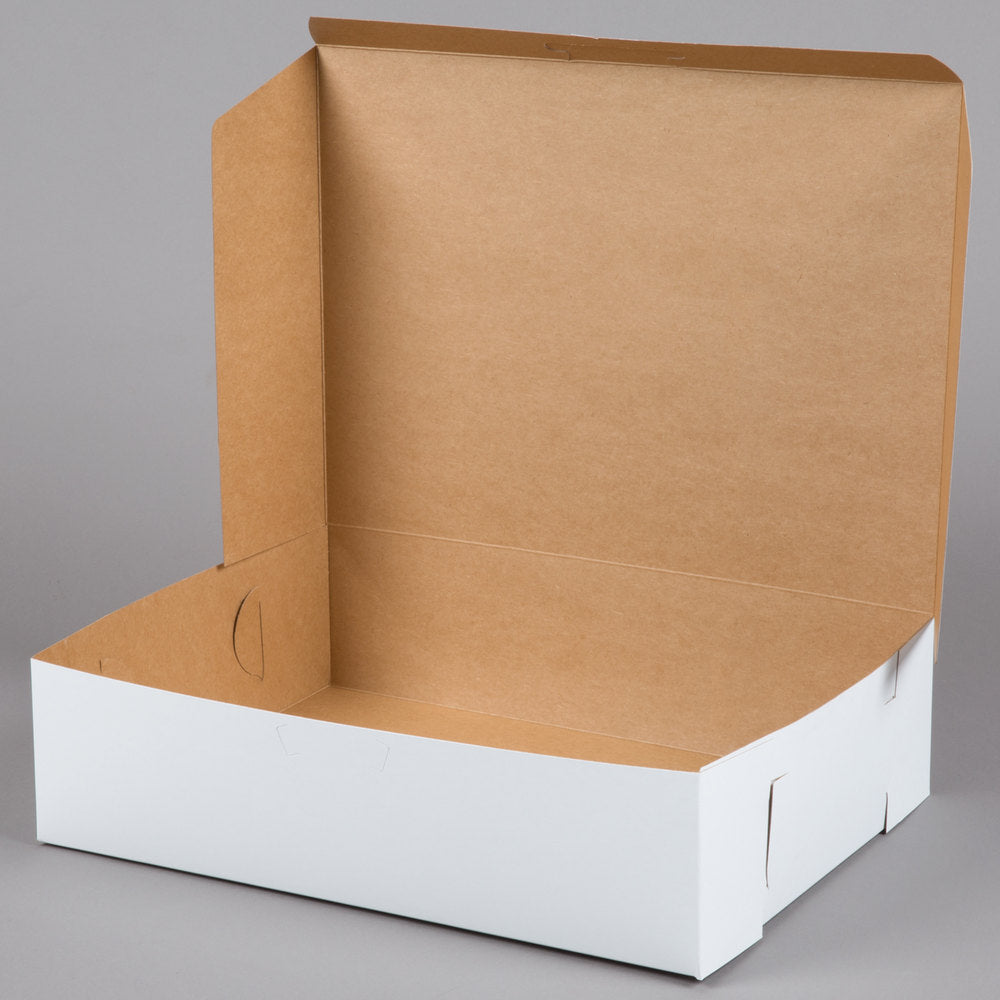 "19"" x 14"" x 5"" White Half Sheet Cake / Bakery Box"