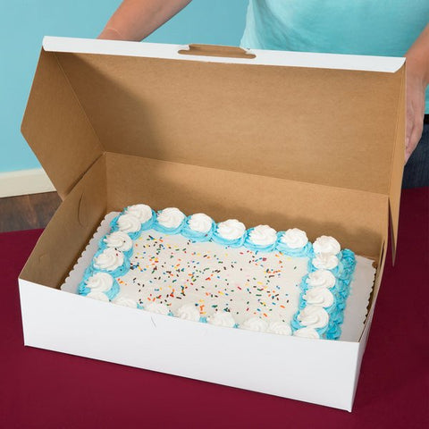 "8"" x 8"" x 4"" White Cake / Bakery Box"
