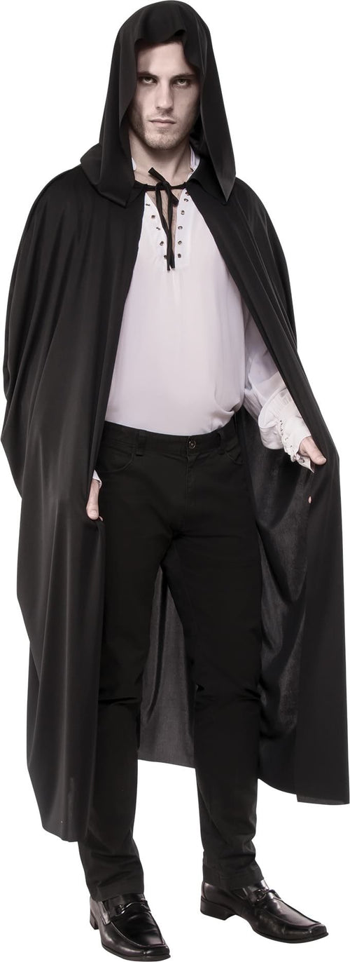 Adult Long Black Hooded Cape