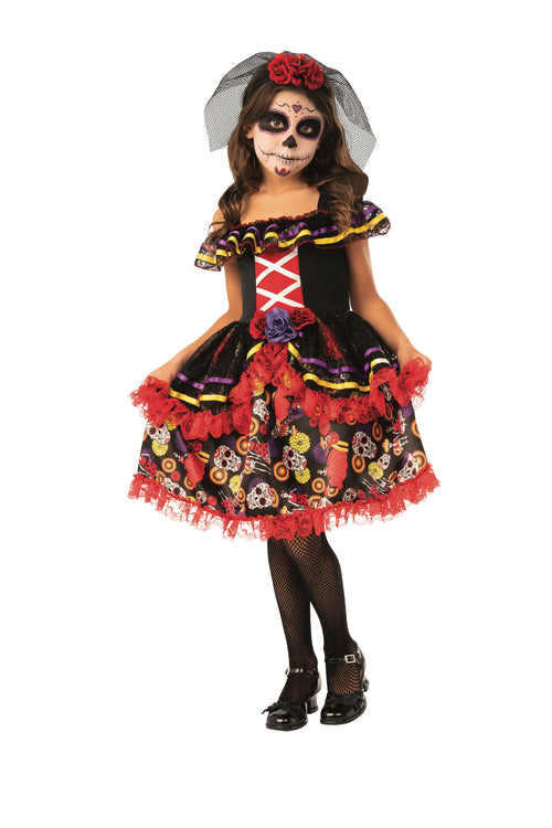 Day of the Dead Tights Girls Fancy Dress Halloween Skeleton Costume Accessory