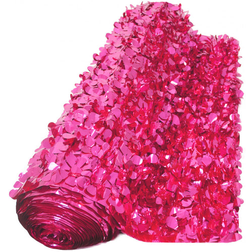 Metallic Cerise (Hot Pink) Floral Sheeting