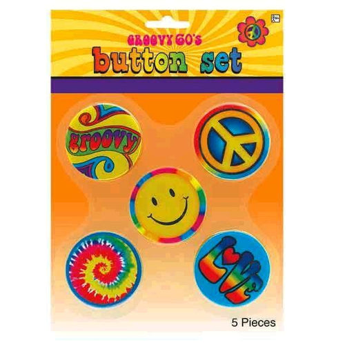Amscan 60s Hippie Button Set