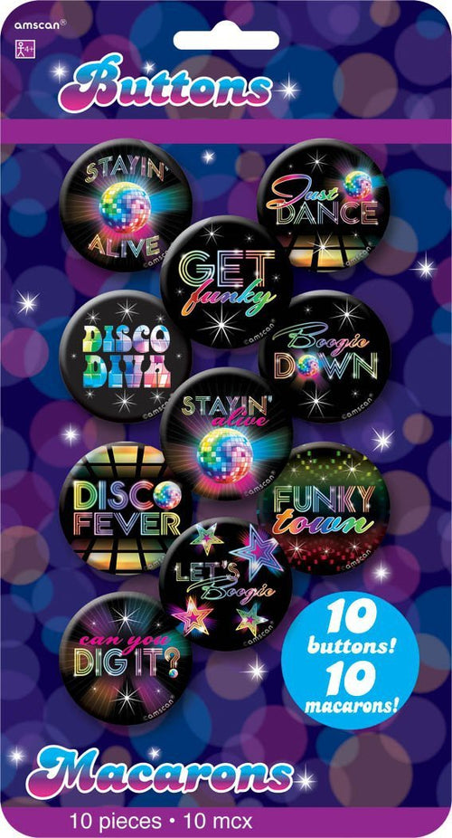 Amscan 70s 70s Disco Buttons 10pc