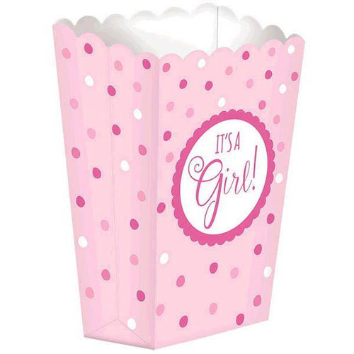 Amscan Baby Shower It's A Girls Pink Popcorn Boxes - Baby Shower