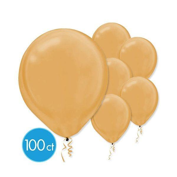 Amscan Balloons Gold Pearlized Latex Balloons 100ct