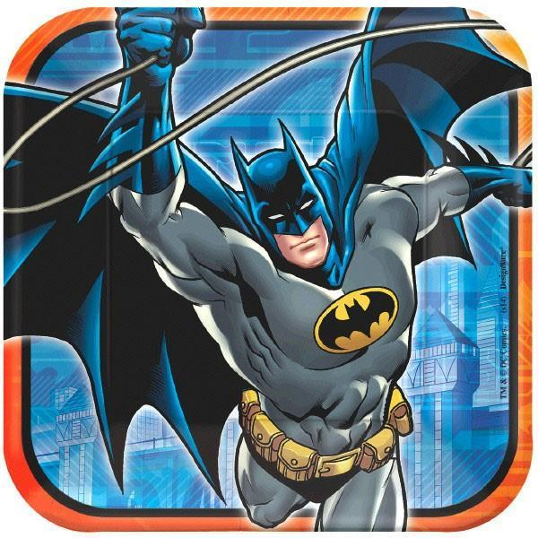 "AMSCAN BIRTHDAY Batman 9"" Square Lunch Plates 8ct"
