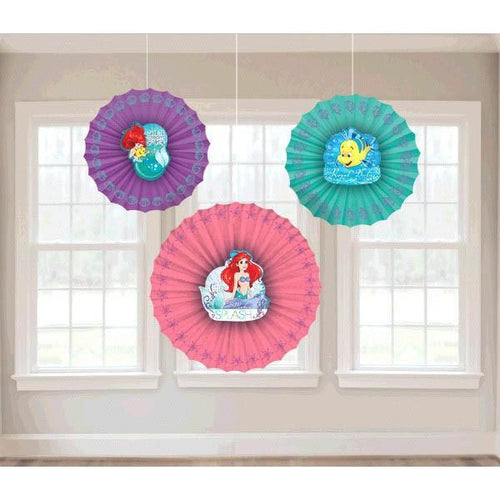 AMSCAN BIRTHDAY ©Disney Little Mermaid Paper Fan Decorations 3pc