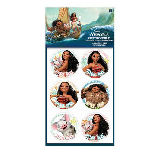 AMSCAN BIRTHDAY ©Disney Moana Party ID Stickers 16ct