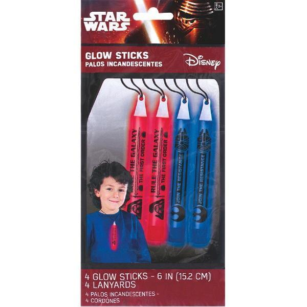 Amscan BIRTHDAY Star Wars (tm) Episode VII Printed Glow Stick Necklaces 4ct