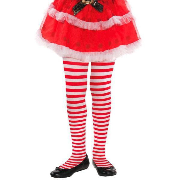 Amscan Christmas Child Red & White Striped Tights