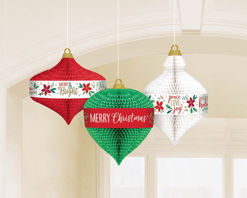 Amscan Christmas Christmas Ornaments Honeycomb Decorations 3ct