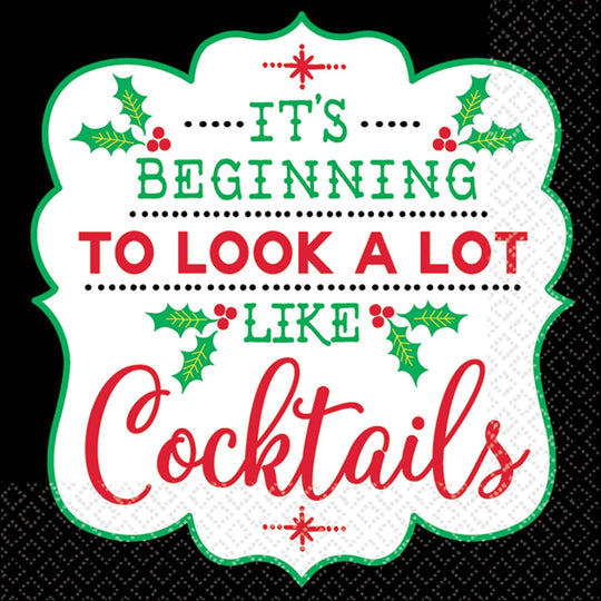 Amscan Christmas Cocktail Christmas Beverage Napkins 16ct