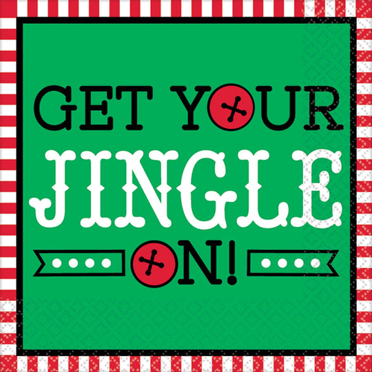 Amscan Christmas Get Your Jingle On Beverage Napkins 16ct