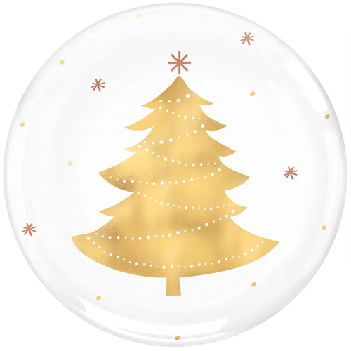 Amscan Christmas Gold Tree Premium Plastic Lunch Plates 4ct