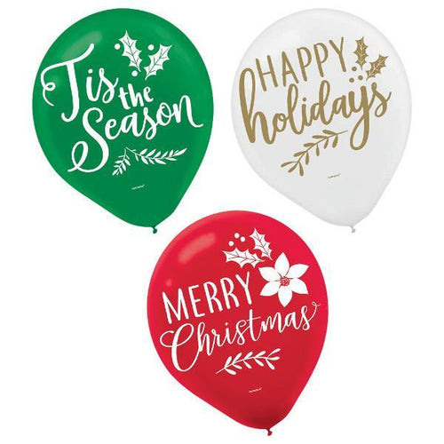 Amscan Christmas Green, Red & White Christmas Balloons 15ct