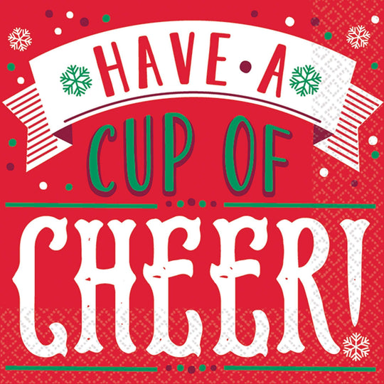 Amscan Christmas Have a Cup of Cheer Beverage Napkins 16ct