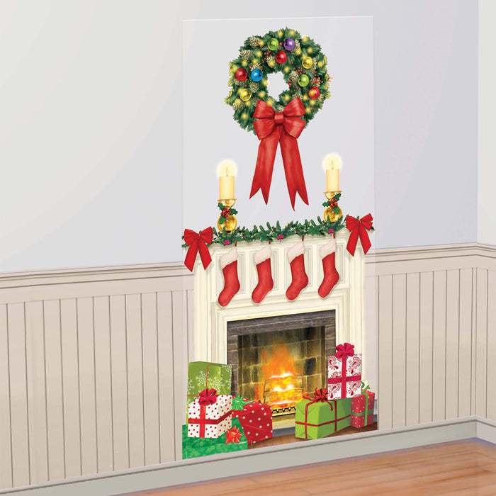Amscan Christmas Holiday Hearth Scene Setter