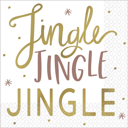Amscan Christmas Metallic Jingle Jingle Beverage Napkins 16ct