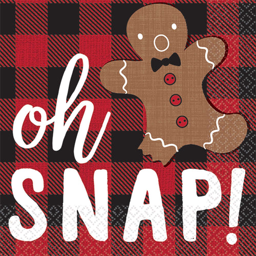 Amscan Christmas Oh Snap Beverage Napkins 16ct