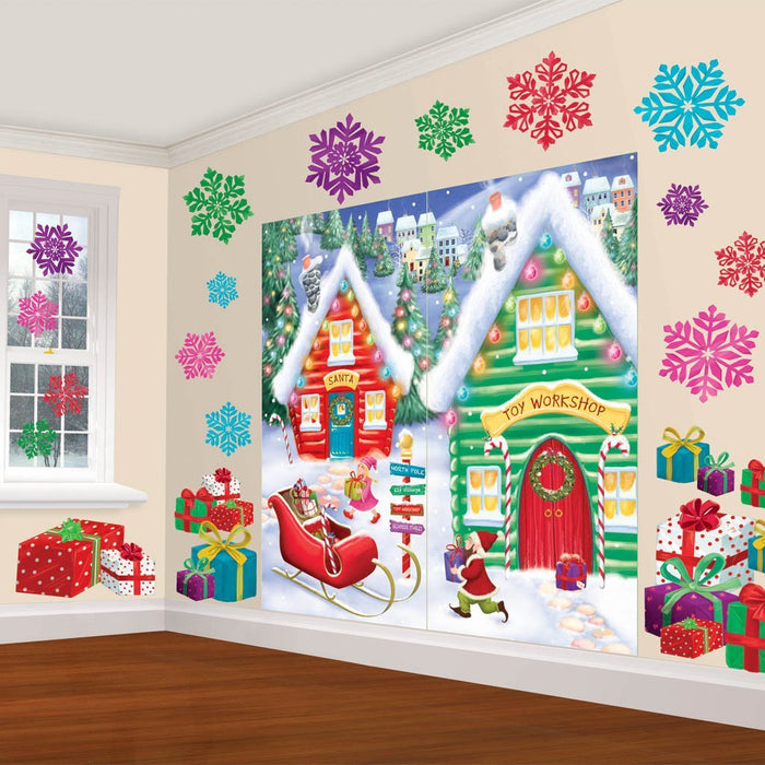 Amscan Christmas Santa's Workshop Wall Decorations 32pc