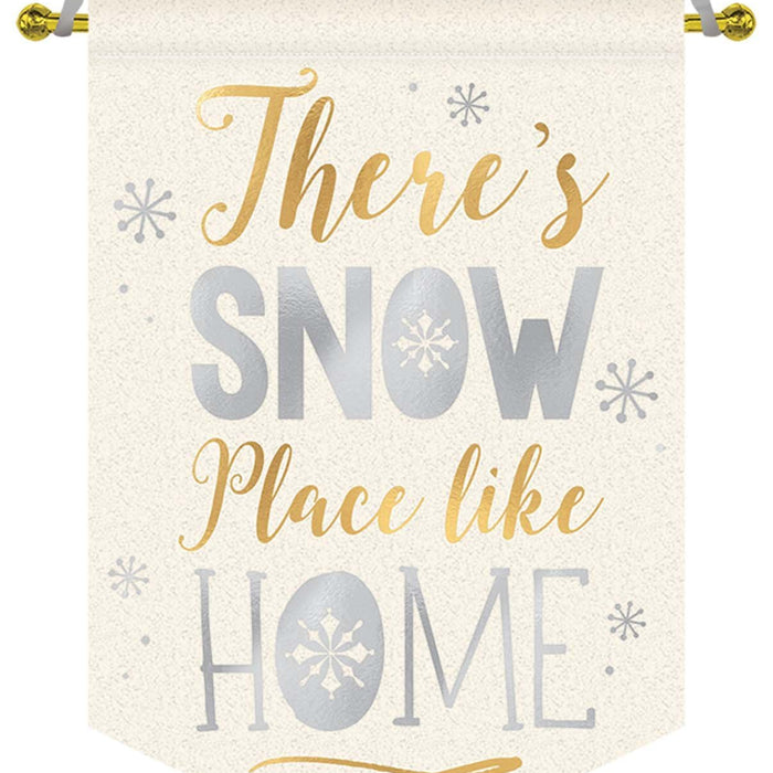 Amscan Christmas Snow Place Like Home Fabric Sign