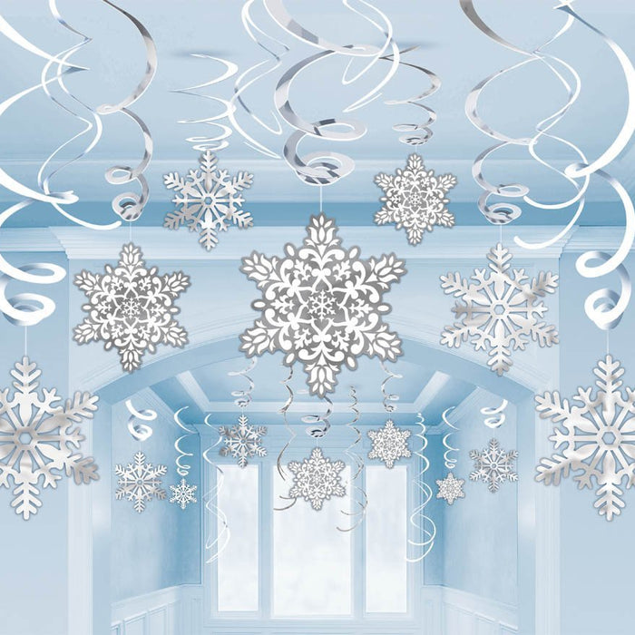 Amscan Christmas Snowflake Swirl Decorations 30ct
