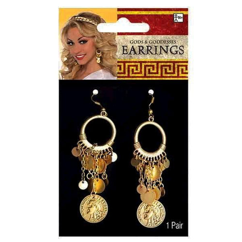 Amscan Costume Accessories Goddess Gold Coin Earrings