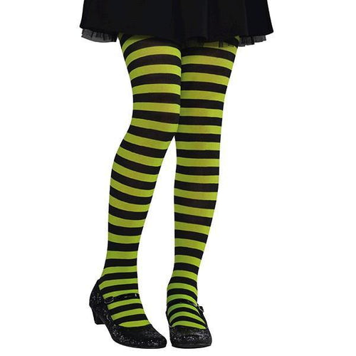 d9b7f38694667 Kids Green & Black Striped Tights