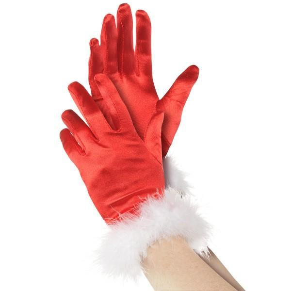 Amscan Costume Accessories Mrs. Claus Red Satin Gloves with Plush Wrists