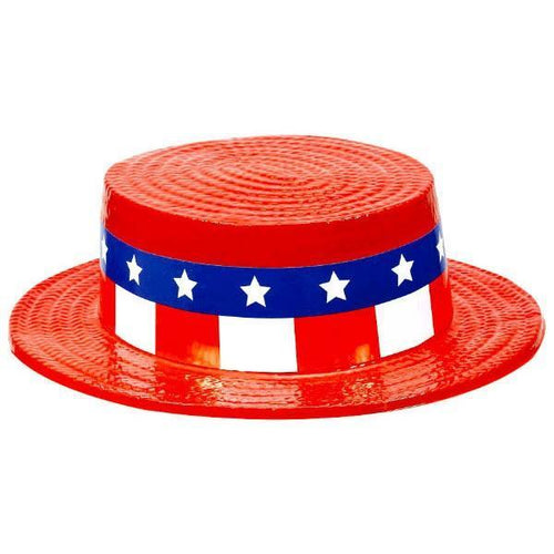 Amscan Costume Accessories Patriotic Red, White & Blue Skimmer Hat
