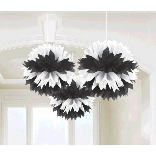 Amscan Decorations Black & White Fluffy Decorations 3ct
