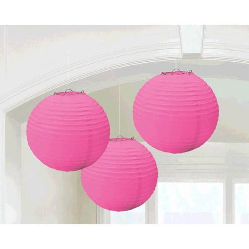 Amscan Decorations Bright Pink Paper Lanterns 3ct
