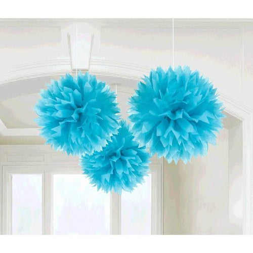 Amscan Decorations Caribbean Blue Fluffy Decorations 3ct
