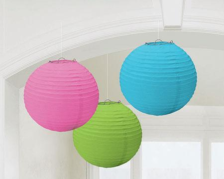 Amscan Decorations Multicolor Paper Lanterns 3ct