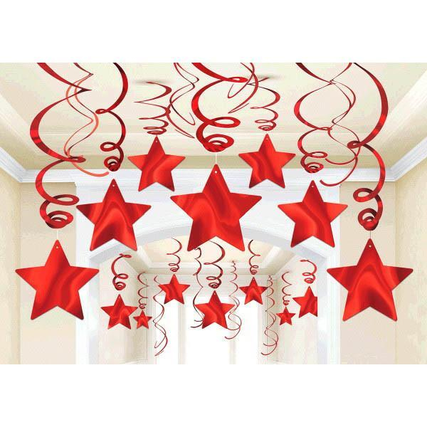 Amscan Decorations Red Star Swirl Decorations 30ct