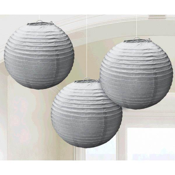 Amscan Decorations Silver Paper Lanterns 3ct