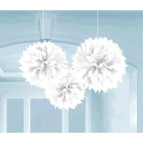 Amscan Decorations White Fluffy Decorations 3ct