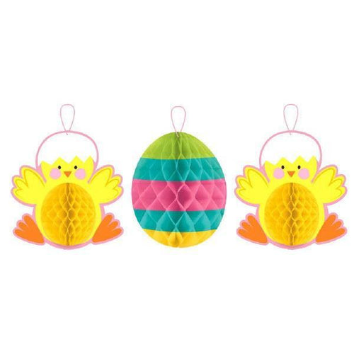 Amscan Easter Chick & Eggs Honeycomb Hanging Decorations 3pc