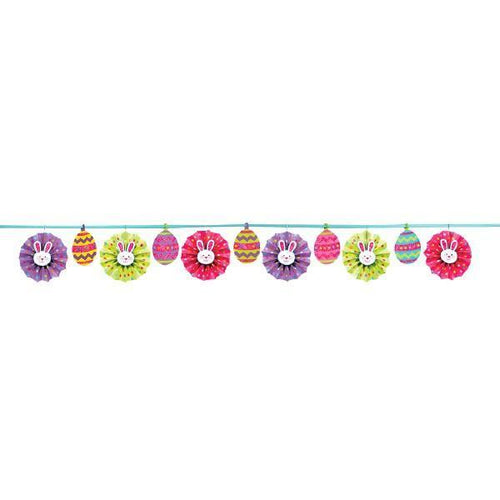 Amscan Easter Easter Egg Fan Banner Garland with Bunnies