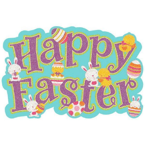 Amscan Easter Happy Easter Large Glitter Cutout Sign