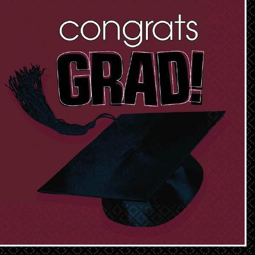 Amscan Graduation Berry Congrats Grad Lunch Napkins 36ct
