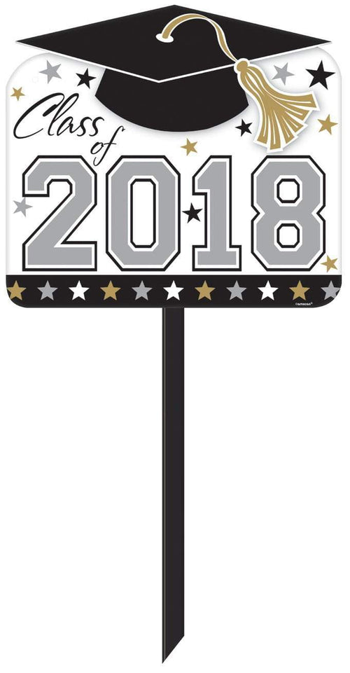 Amscan Graduation Black, Gold & Silver Graduation Yard Sign